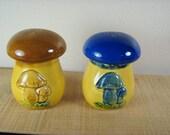Unique Mushroom Salt and Pepper Shaker Split Set 1960's - 1970's Blue Brown