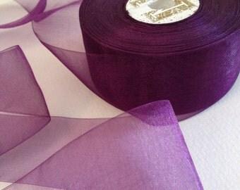 """Midori Ribbon 1.5"""" inch Blackberry Purple Wedding DIY Organdy per yard - Baby Headband - Bridal Garter - Bouquet Wrap"""