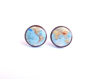 Whole Wide World- Colored map earrings- Vintage World Map Stud Earrings- Map earrings- Antique World Map- Retro Space- Globe