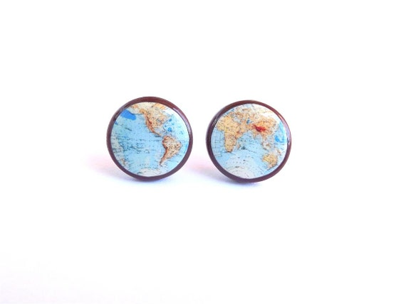 Whole Wide World Colored Map Earrings Vintage World Map Stud - Wide world of maps