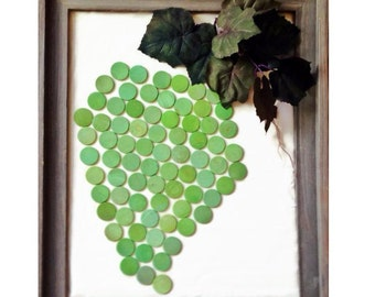 Unique Guest Book for Vineyard wedding, Green Grape Guestbook turned into art. Wine Themed Guestbook listing for 30 to 90 Grapes