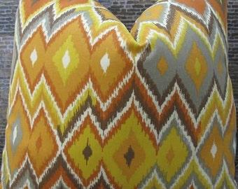 SALE Designer Pillow Cover -  12 x 16, 12 x 18, 16 x 16, 18 x 18 - Outdoor Marva Pompei Ikat Orange -