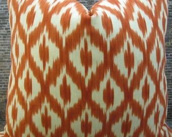 SALE Designer Pillow Cover  - Lumbar, 16 x 16, 18 x 18 -  Diamond Ikat Linen Mandarin