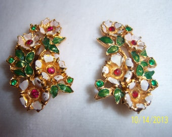 Floral Painted Clip-on Earrings