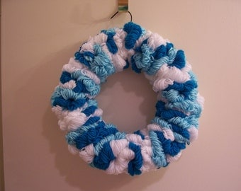 Light Blue, Bright Blue and White Yarn Loop Winter Wreath - FREE SHIPPING!
