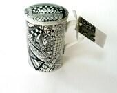 Infuser mug, black and white zentangle design, infuser, tea, porcelain