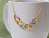 Modern Colorful Chain Statement Necklace in Gold.  Statement Necklace. Modern Jewelry.  Multi Color Statement Jewelry.  Modern.