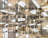 I Love Our Pleasant School: original mixed media on vintage sheet music geometric lines white beige black tan notes children's song