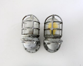 vintage ship lights, pair Pauluhn boat sconces, nautical lighting