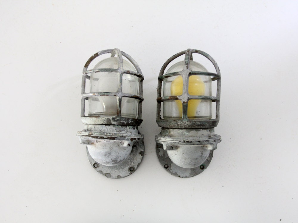 ?zoom & vintage ship lights pair Pauluhn boat sconces nautical azcodes.com