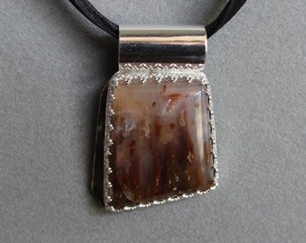 Plume Agate in Sterling Silver Pendant, ON SALE