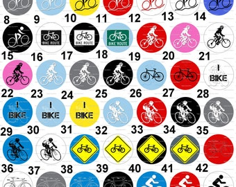 Bike Bicycle Cycling Flair Pinback  Flatback Button Badge or Magnet 1 inch set of 10