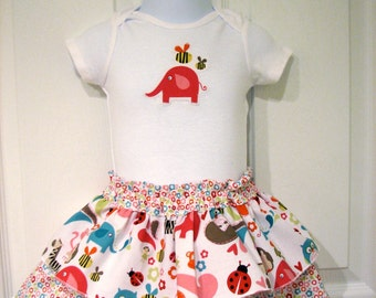 Tiered Ruffle Baby Skirt with Applique Bodysuit and Diaper Cover 6-12 month