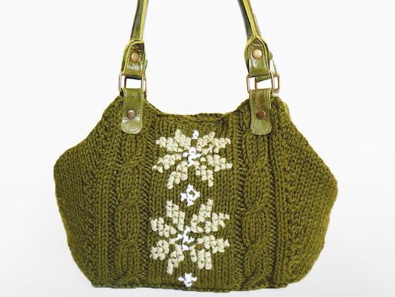 BAG // Green - Khaki Shoulder Bag Celebrity Style With Genuine Leather Khaki Straps / Handles hand bag hand made-knit bag
