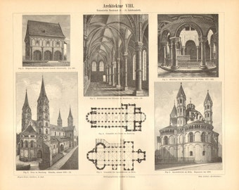 1893 Romanesque Architecture 9-13th Century Antique Engraving to Frame