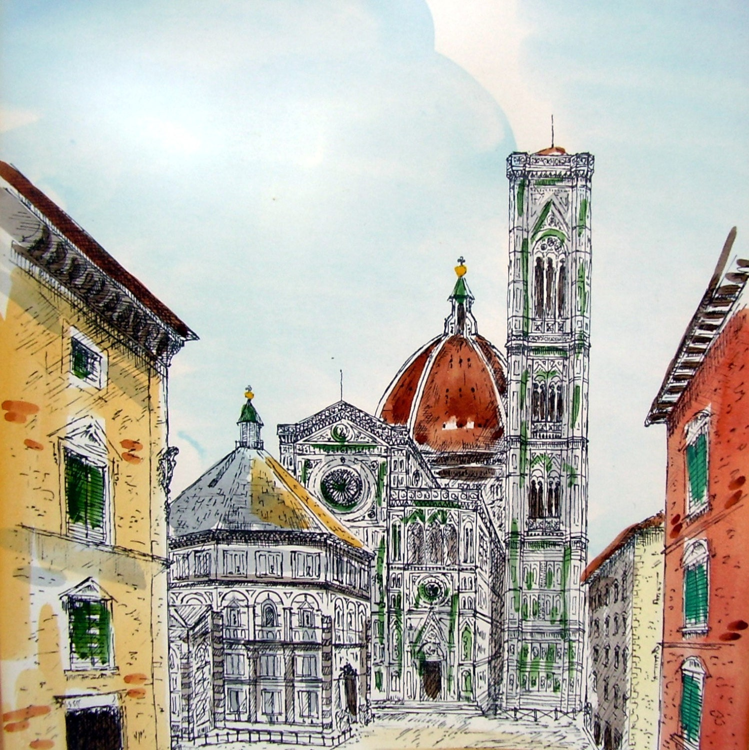 Vintage Watercolor Florence Italy Cathedral Painting Cityscape