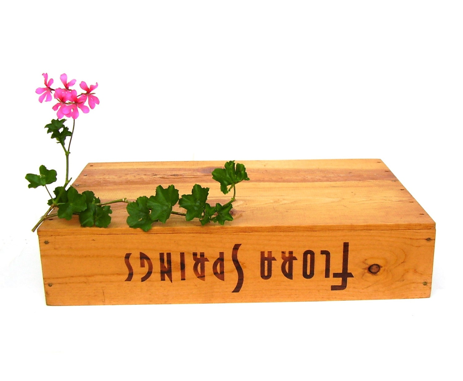 Vintage wine crate wooden storage box rustic farmhouse for Wooden wine box garden