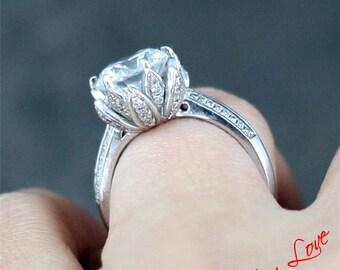 White Sapphire Lotus Flower Engagement Ring 3ct 9mm 14k 18k White Yellow  Rose Gold Platinum