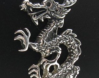 PE000683 Sterling silver pendant  solid 925 Dragon