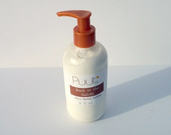 Back in the Saddle VEGAN Shea Butter Lotion - Leather Scent  - Body Lotion Paraben Free Cowboy Saddle Leather scent 8oz
