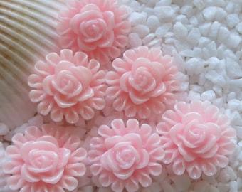 Resin Flower Cabochon - Rose Circled - 13mm  - 12 pcs - Pink
