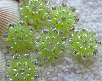 Resin Rhinestone Flower Cabochon - 20mm - 6 pcs - Lime Green