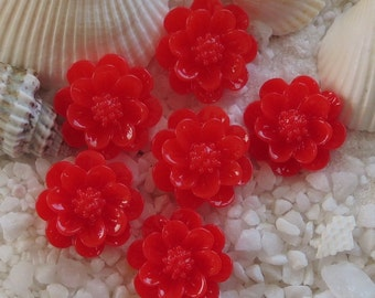 Resin 3D Flower Cabochon - 15mm - 12 pcs - Red