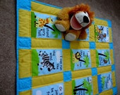 Safari Tots baby story book crib quilt, patchwork quilt, baby bedding, gender neutral baby quilt, jungle animal quilt