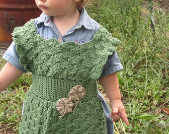 Adorable Crochet Cotton Pinafore Apron, size 16 mo. for Baby Girl, Sage Green, Tan Appliques, Washable
