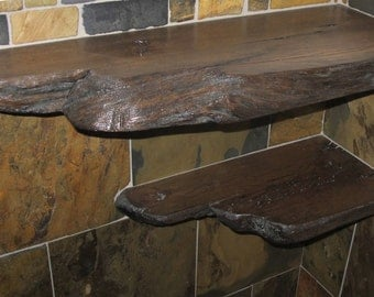 Set of 2 Rustic Barn Wood Bathroom Shower Shelves