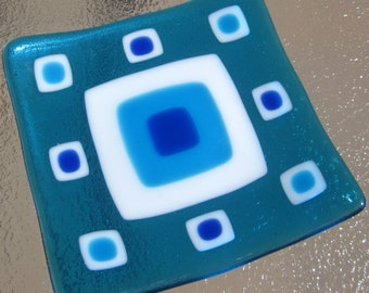 Fused Glass Plate, Ocean Turquoise, Blue and White Squares, Turquoise Glass Plate, Modern Glass Plate, Evil Eye Glass Dish