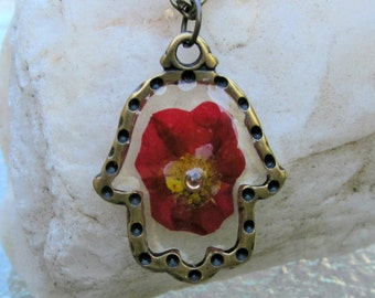 Brass Hamsa Necklace with Red Pressed Flower, Hamsa Floral Necklace, Valentine's Day Necklace, Mothers Day Jewelry