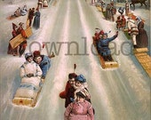 Lets Go Sledding, INSTANT Download, Victorian Image of people sledding down hill