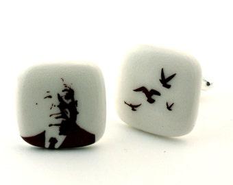 Alfred Hitchcock Cuff Links Silhouette The Birds Horror Movie on White Porcelain Handmade Men Accessories Presen Psychological Thriller