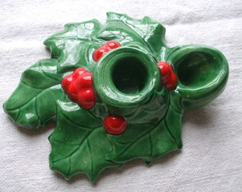 Holly Leaf Candle Holder Berries Red Green Vintage Handmade