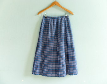 Vintage preppy skirt pleated / blue red white stripes / nautical / high waisted / midi length / extra small