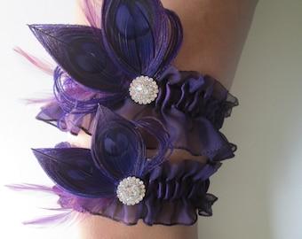 Purple Wedding Garter Set, Peacock Garters, Plum / Eggplant / Amethyst Purple Chiffon Garter, Purple Prom Garter