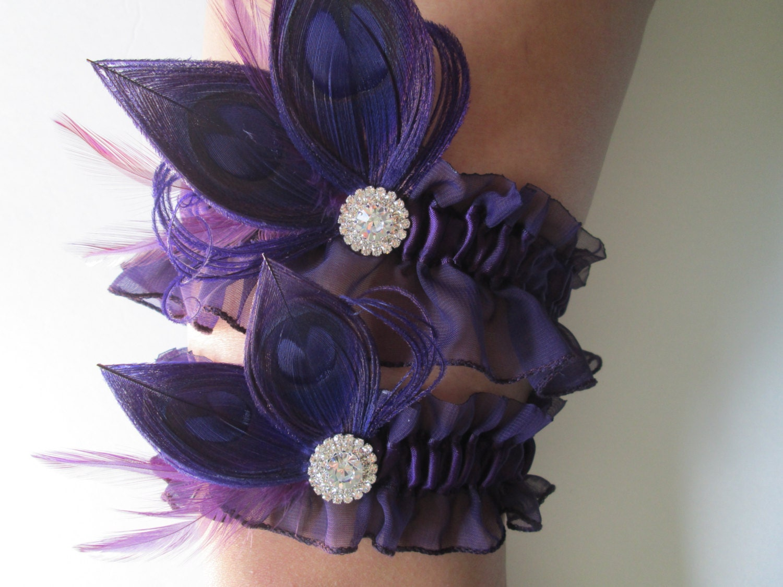 Purple Wedding Garter Set Peacock Garters Plum Eggplant