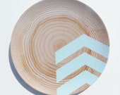 "Modern Wood Simple Chevron 10"" Melamine Plate, Seafoam"