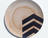 "Modern Wood Simple Chevron 10"" Melamine Plate, Black"