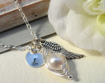 Remembrance Peapod Necklace Angel Wing Peapod Memorial Necklace Miscarriage  Infant Loss  Sterling Silver