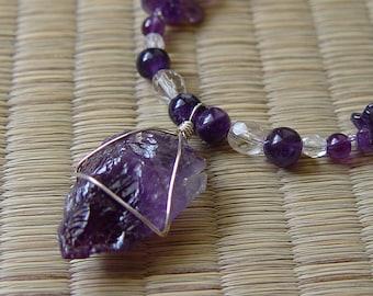 Amethyst arrowhead, amethyst chips, amethyst necklace