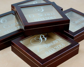 Personalized Engraved Glasstop cigar humidor