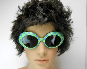 Vintage Samco Mod Dep lime green and blue checkerboard Italian 1960s oversize sunglasses blue and green and blue Seattle Seahawks colors