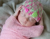 Newborn Button Cloche Beanie Hat, Knit in Pink Mint Green White, Newborn to 3 Month Size (Item 884) - ThatsTheCutestThing