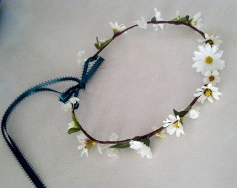Forest Daisy Flower Crown Bridal woodland hair wreath hippie Super Cute headband gypsy fairy headwreath music festivals wedding accessories