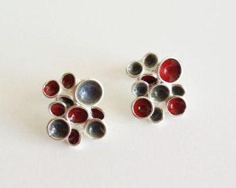 Pan Silver Earrings - Red grey enamel - Contemporary silver Jewelry