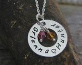 Disk Washer Children Kid Child Name Hand Stamped Sterling Silver MothersNecklace with Birthstones