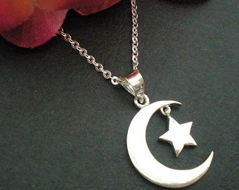 Half Moon and Star Necklace Pendant in Sterling Silver - Crescent Moon Jewelry - Holidays, Christmas, Thanksgiving, New Year Gift