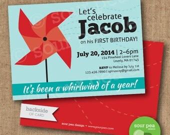 "Birthday Invitation - Custom DIY Printable Invitation - ""Pinwheel Airflow"""